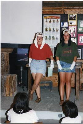 Girls perform a skit