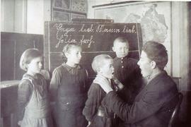 Abram Wiebe with deaf students