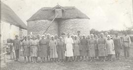 Milking crew on collective farm at the former home of the Spenst family in Konteniusfeld, Molotschna, 1935