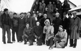 Group of men, including conscientious objectors, at Mile 10 Camp, Chalk River, Ontario